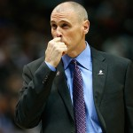DALLAS, TX - NOVEMBER 11:  Rick Carlisle of the Dallas Mavericks reacts as the Mavericks take on the Sacramento Kings in the first quarter at American Airlines Center on November 11, 2014 in Dallas, Texas.  (Photo by Tom Pennington/Getty Images)
