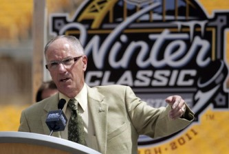 PITTSBURGH - JULY 27:  Mike Emrick addresses the media at the 2011 Bridgestone NHL Winter Classic press conference on July 27, 2010 at Heinz Field in Pittsburgh, Pennsylvania.  (Photo by Justin K. Aller/Getty Images)