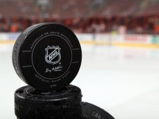 PHILADELPHIA, PA - OCTOBER 22:  A puck is seen before the Philadelphia Flyers and St. Louis Blues warm up for their game on October 22, 2011 at Wells Fargo Center in Philadelphia, Pennsylvania.  (Photo by Jim McIsaac/Getty Images)