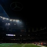 NEW ORLEANS, LA - FEBRUARY 03:  A general view of the Mercedes-Benz Superdome after a sudden power outage that lasted 34 minutes in the second half during Super Bowl XLVII between the Baltimore Ravens and the San Francisco 49ers at the Mercedes-Benz Superdome on February 3, 2013 in New Orleans, Louisiana.  (Photo by Jamie Squire/Getty Images)