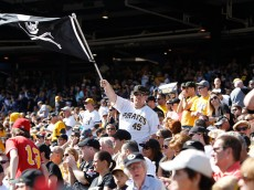 PITTSBURGH, PA - SEPTEMBER 14:   Pittsburgh Pirates fans cheer during the fifth inning against the Chicago Cubs on September 14, 2014 at PNC Park in Pittsburgh, Pennsylvania.  The Pirates defeated the Cubs 7-3.  (Photo by David Maxwell/Getty Images)