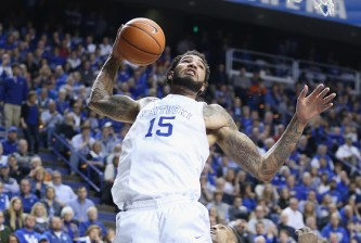 LEXINGTON, KY - FEBRUARY 28:  Willie Cauley-Stein #15 of the Kentucky Wildcats grabs a rebound during the game against the Arkansas Razorbacks at Rupp Arena on February 28, 2015 in Lexington, Kentucky.  (Photo by Andy Lyons/Getty Images)