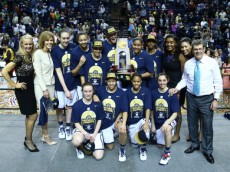 NASHVILLE, TN - APRIL 08:  The Connecticut Huskies pose after defeating the Notre Dame Fighting Irish 79 to 58 in the NCAA Women's Final Four Championship at Bridgestone Arena on April 8, 2014 in Nashville, Tennessee.  (Photo by Andy Lyons/Getty Images)