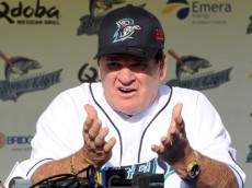 BRIDGEPORT, CT - JUNE 16:  Former Major League Baseball player Pete Rose speaks at a press conference prior to managing the game for the Bridgeport Bluefish against the Lancaster Barnstormers at The Ballpark at Harbor Yard on June 16, 2014 in Bridgeport, Connecticut. (Photo by Christopher Pasatieri/Getty Images)