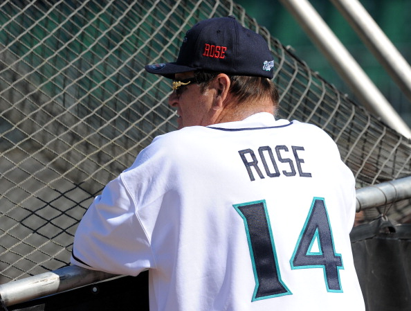 BRIDGEPORT, CT - JUNE 16:  Former Major League Baseball player Pete Rose looks on during batting practice prior to managing the game for the Bridgeport Bluefish against the Lancaster Barnstormers at The Ballpark at Harbor Yard on June 16, 2014 in Bridgeport, Connecticut. (Photo by Christopher Pasatieri/Getty Images)