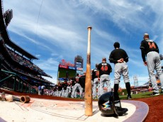 PHILADELPHIA, PA - SEPTEMBER 14: The Miami Marlins stand for the national anthem before a game against the Philadelphia Phillies during the second inning of a game at Citizens Bank Park on September 14, 2014 in Philadelphia, Pennsylvania. (Photo by Rich Schultz/Getty Images)