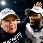 GLENDALE, AZ - FEBRUARY 01:  Head coach Bill Belichick of the New England Patriots celebrates with  Darrelle Revis #24 after defeating the Seattle Seahawks during Super Bowl XLIX at University of Phoenix Stadium on February 1, 2015 in Glendale, Arizona. The Patriots defeated the Seahawks 28-24.  (Photo by Kevin C. Cox/Getty Images)
