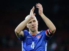 ZURICH, SWITZERLAND - MARCH 31: Michael Bradley of the USA applauds the fans after the international friendly match between Switzerland and the United States at Stadium Letzigrund on March 31, 2015 in Zurich, Switzerland. (Photo by Philipp Schmidli/Getty Images)