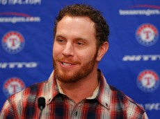 ARLINGTON, TX - APRIL 27:  Josh Hamilton, outfielder for the Texas Rangers, talks with the media at Globe Life Park on April 27, 2015 in Arlington, Texas. Hamilton was acquired from the Los Angels in exchange for a player to be named later or cash considerations.  (Photo by Tom Pennington/Getty Images)