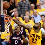 during Game Three of the Eastern Conference Finals of the 2015 NBA Playoffs at Quicken Loans Arena on May 24, 2015 in Cleveland, Ohio. NOTE TO USER: User expressly acknowledges and agrees that, by downloading and or using this Photograph, user is consenting to the terms and conditions of the Getty Images License Agreement.