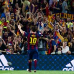 BARCELONA, SPAIN - MAY 30:  Lionel Messi of FC Barcelona celebrates after scoring the opening goal during the Copa del Rey Final between Athletic Club and FC Barcelona at Camp Nou on May 30, 2015 in Barcelona, Spain.  (Photo by Alex Caparros/Getty Images)