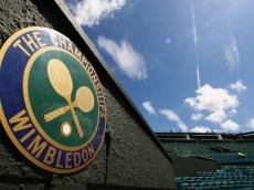 LONDON - JUNE 21:  A 'The Championships' logo is seen at Centre Court during previews for the Wimbledon Lawn Tennis Championships at the All England Lawn Tennis and Croquet Club on June 21, 2007 in London, England.  (Photo by Ryan Pierse/Getty Images)