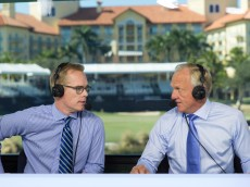 Joe Buck and Greg Norman at the Franklin Templeton Shootout