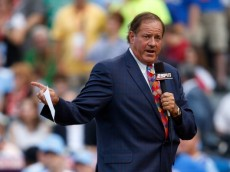 KANSAS CITY, MO - JULY 09:  ESPN personality Chris Berman addresses the crowd during the State Farm Home Run Derby at Kauffman Stadium on July 9, 2012 in Kansas City, Missouri.  (Photo by Jamie Squire/Getty Images)