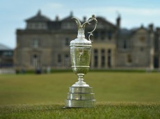 ST ANDREWS, SCOTLAND - APRIL 20 : The Claret Jug sits by the Swilcan Bridge on the 18th fairway in front of the famous St Andrews club house building, during the Open Championship Media Day at Fairmont St Andrews on April 20, 2015 in St Andrews, Scotland. (Photo by Mark Runnacles/Getty Images)
