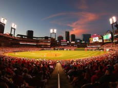 ST. LOUIS, MO - JULY 29: The sun sets over Busch Stadium during a game between the St. Louis Cardinals and the Cincinnati Reds on July 29, 2015 in St. Louis, Missouri.  (Photo by Dilip Vishwanat/Getty Images)