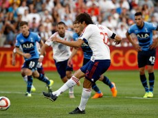 COMMERCE CITY, CO - JULY 29:  Kaka #22 of MLS All-Stars strikes a penalty kick for a goal in the 20th minute to take a 1-0 lead over the Tottenham Hotspur during the 2015 AT&T Major League Soccer All-Star game at Dick's Sporting Goods Park on July 29, 2015 in Commerce City, Colorado. The MLS All-Stars defeated Tottenham Hotspur 2-1.  (Photo by Doug Pensinger/Getty Images)