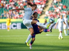 :EDMONTON, AB - JULY 01: Jill Scott #8 of England challenges Aya Sameshima #5 of Japan during the 2015 FIFA Women's World Cup Canada 2015 Semi Final match between Japan and England at Commonwealth Stadium on July 1, 2015 in Edmonton, Canada. (Photo by Kevin C. Cox/Getty Images)