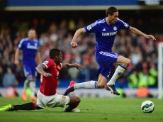 LONDON, ENGLAND - APRIL 18:  Luis Antonio Valencia of Manchester United tackles Nemanja Matic of Chelsea  during the Barclays Premier League match between Chelsea and Manchester United at Stamford Bridge on April 18, 2015 in London, England.  (Photo by Jamie McDonald/Getty Images)