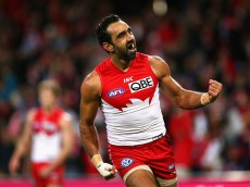 SYDNEY, AUSTRALIA - JULY 02:  Adam Goodes of the Swans celebrates kicking a goal during the round 14 AFL match between the Sydney Swans and the Port Adelaide Power at SCG on July 2, 2015 in Sydney, Australia.  (Photo by Cameron Spencer/Getty Images)