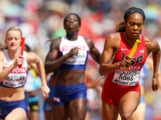 BEIJING, CHINA - AUGUST 29:  Sanya Richards-Ross of the United States competes in the Women's 4x400 Metres Relay heats during day eight of the 15th IAAF World Athletics Championships Beijing 2015 at Beijing National Stadium on August 29, 2015 in Beijing, China.  (Photo by Alexander Hassenstein/Getty Images for IAAF)