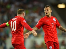 LJUBLJANA, SLOVENIA - JUNE 14:  Jack Wilshere of England (R) celebrates scoring their first goal with Wayne Rooney of England during the UEFA EURO 2016 Qualifier between Slovenia and England on at the Stozice Arena on June 14, 2015 in Ljubljana, Slovenia.  (Photo by Stu Forster/Getty Images)