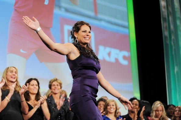 NEW YORK - OCTOBER 13:  Softball player Jessica Mendoza speaks onstage during the 30th Annual Salute To Women In Sports Awards at The Waldorf=Astoria on October 13, 2009 in New York City.  (Photo by Stephen Lovekin/Getty Images for the Women?s Sports Foundation)