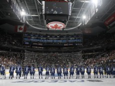 TORONTO, CANADA - OCTOBER 07: The Leaf team is introduced during an opening night pre-game ceremony before a regular season NHL game between the Toronto Maple Leafs  and the Montreal Canadiens at the Air Canada Centre October 7, 2010 in Toronto, Ontario, Canada. (Photo by Abelimages/Getty Images)