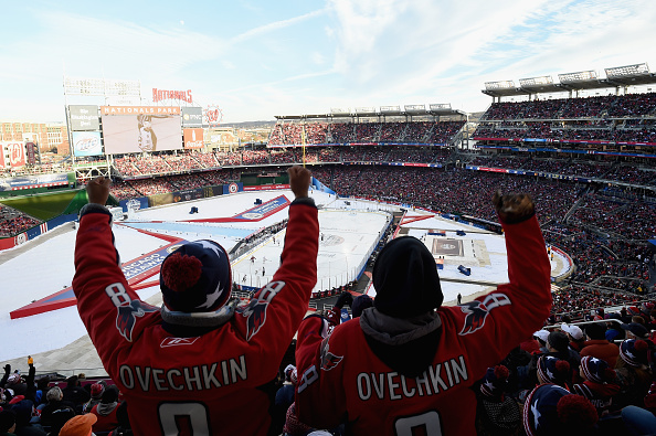 during the 2015 NHL Winter Classic at Nationals Park on January 1, 2015 in Washington, DC.