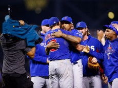 PITTSBURGH, PA - OCTOBER 07:  Jake Arrieta #49 of the Chicago Cubs celebrates with teammates after defeating the Pittsburgh Pirates to win the National League Wild Card game at PNC Park on October 7, 2015 in Pittsburgh, Pennsylvania. The Chicago Cubs defeated the Pittsburgh Pirates with a score of 4 to 0.  (Photo by Jared Wickerham/Getty Images)