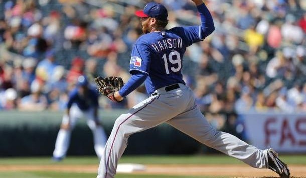 Hanson throwing for the Rangers this past spring. Credit: Roger Mallison, Star-Telegram
