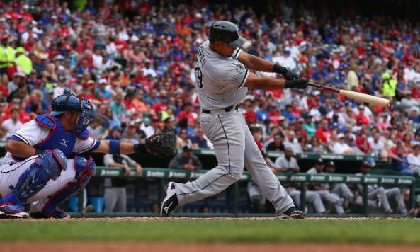 Jose Abreu connecting for his fifth major league home run. Credit: Tom Pennington, Getty Images