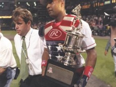 8 Jul 1997:  Sandy Alomar walks with a tropy after the MLB All-Star Game at Jacobs Field in Cleveland, Ohio.  Mandatory Credit: Doug Pensinger  /Allsport