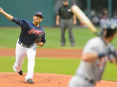 CLEVELAND, OH - SEPTEMBER 2: Starter Carlos Carrasco #59 of the Cleveland Indians pitches to Ian Kinsler #3 of the Detroit Tigers in the first inning at Progressive Field on September 2, 2014 in Cleveland, Ohio. (Photo by Jason Miller/Getty Images)