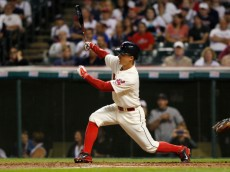 CLEVELAND, OH - AUGUST 23:  Zach Walters #6 of the Cleveland Indians bats against the Houston Astros during the eighth inning of their game on August 23, 2014 at Progressive Field in Cleveland, Ohio.The Indians defeated the Astros 3-2.  (Photo by David Maxwell/Getty Images)