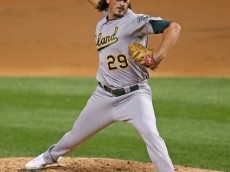CHICAGO, IL - SEPTEMBER 10:  Starting pitcher Jeff Samardzija #29 of the Oakland Athletics delivers the ball against the Chicago White Sox at U.S. Cellular Field on September 10, 2014 in Chicago, Illinois. The White Sox defeated the Athletics 2-1.  (Photo by Jonathan Daniel/Getty Images)