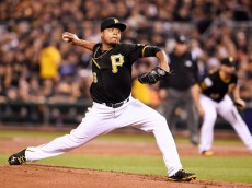 PITTSBURGH, PA - OCTOBER 01:  Edinson Volquez #36 of the Pittsburgh Pirates pitches in the third inning against the San Francisco Giants during the National League Wild Card game at PNC Park on October 1, 2014 in Pittsburgh, Pennsylvania.  (Photo by Jason Miller/Getty Images)