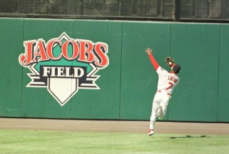 5 Oct 1996:  Centerfielder Kenny Lofton of the Cleveland Indians focuses on the baseball as he makes a running catch off a Todd Zeile hit in the first inning of game four of the Indians match up against the Baltimore Orioles in the American League Divisio
