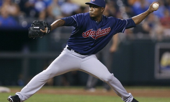 KANSAS CITY, MO - AUGUST 02:  Tony Sipp #49 of the Cleveland Indians pitches against the Kansas City Royals in the fifth inning at Kauffman Stadium on August 2, 2012 in Kansas City, Missouri. (Photo by Ed Zurga/Getty Images)