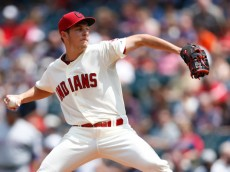 CLEVELAND, OH - AUGUST 3: Trevor Bauer #47 of the Cleveland Indians pitches in the second inning of the game against the Texas Rangers at Progressive Field on August 3, 2014 in Cleveland, Ohio. (Photo by Joe Robbins/Getty Images)