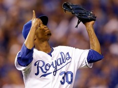 KANSAS CITY, MO - OCTOBER 28:  Yordano Ventura #30 of the Kansas City Royals reacts against the San Francisco Giants during Game Six of the 2014 World Series at Kauffman Stadium on October 28, 2014 in Kansas City, Missouri.  (Photo by Ezra Shaw/Getty Images)