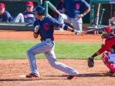 GOODYEAR, AZ - FEBRUARY 27:  Erik Gonzalez #78 of the Cleveland Indians bats during a spring training game against the Cincinnati Reds at Goodyear Ballpark on February 27, 2014 in Goodyear, Arizona. (Photo by Rob Tringali/Getty Images)