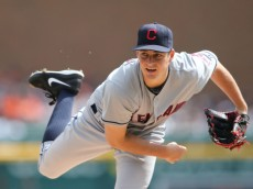 DETROIT, MI - SEPTEMBER 14:  Trevor Bauer #47 of the Cleveland Indians pitches in the third inning of the game against the Detroit Tigers at Comerica Park on September 14, 2014 in Detroit, Michigan. The Tigers defeated the Indians 6-4.  (Photo by Leon Halip/Getty Images)