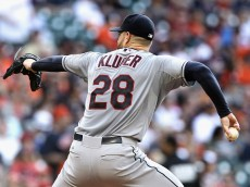 HOUSTON, TX - APRIL 06:  Corey Kluber #28 of the Cleveland Indians throws in the first inning against the Houston Astros on Opening Day at Minute Maid Park on April 6, 2015 in Houston, Texas.  (Photo by Bob Levey/Getty Images)
