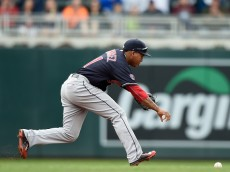 MINNEAPOLIS, MN - APRIL 19: Jose Ramirez #11 of the Cleveland Indians runs after a ball he was unable to field during the second inning of the game against the Minnesota Twins on April 19, 2015 at Target Field in Minneapolis, Minnesota. (Photo by Hannah Foslien/Getty Images)