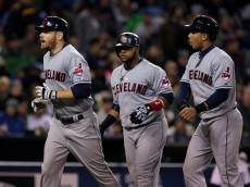 DETROIT, MI - APRIL 24:  Brandon Moss #44 of the Cleveland Indians, left, celebrates his three-run him run that scored Carlos Santana #41 of the Cleveland Indians and Michael Brantley #23 of the Cleveland Indians, right, against the Detroit Tigers during the fifth inning at Comerica Park on April 24, 2015 in Detroit, Michigan. (Photo by Duane Burleson/Getty Images)