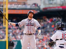 DETROIT, MI - APRIL 25: Brandon Moss #44 of the Cleveland Indians reacts after striking out in the sixth inning of the game against the Detroit Tigers on April 25, 2015 at Comerica Park in Detroit, Michigan. Both teams wore throwback uniforms from the Negro League.(Photo by Leon Halip/Getty Images)