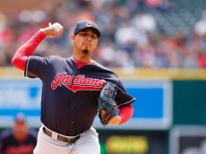 DETROIT, MI - APRIL 26: Carlos Carrasco #59 of the Cleveland Indians pitches during the first inning of the game game against the Detroit Tigers on April 26, 2015 at Comerica Park in Detroit, Michigan. (Photo by Leon Halip/Getty Images)