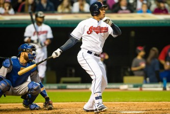 CLEVELAND, OH -  MAY 1: Michael Brantley #23 of the Cleveland Indians hits a two run home run during the fourth inning against the Toronto Blue Jays at Progressive Field on May 1, 2015 in Cleveland, Ohio.   (Photo by Jason Miller/Getty Images)