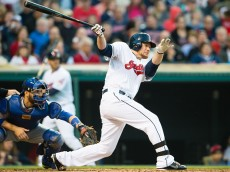 CLEVELAND, OH -  MAY 1: Brandon Moss #44 of the Cleveland Indians hits a two RBI double during the third inning against the Toronto Blue Jays at Progressive Field on May 1, 2015 in Cleveland, Ohio.   (Photo by Jason Miller/Getty Images)